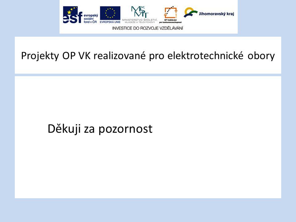 Projekty OP VK realizované pro elektrotechnické obory Děkuji za pozornost