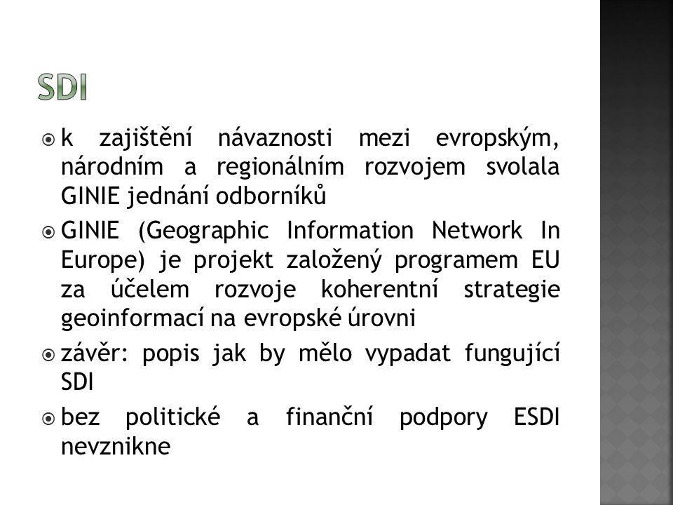 k zajištění návaznosti mezi evropským, národním a regionálním rozvojem svolala GINIE jednání odborníků  GINIE (Geographic Information Network In Europe) je projekt založený programem EU za účelem rozvoje koherentní strategie geoinformací na evropské úrovni  závěr: popis jak by mělo vypadat fungující SDI  bez politické a finanční podpory ESDI nevznikne