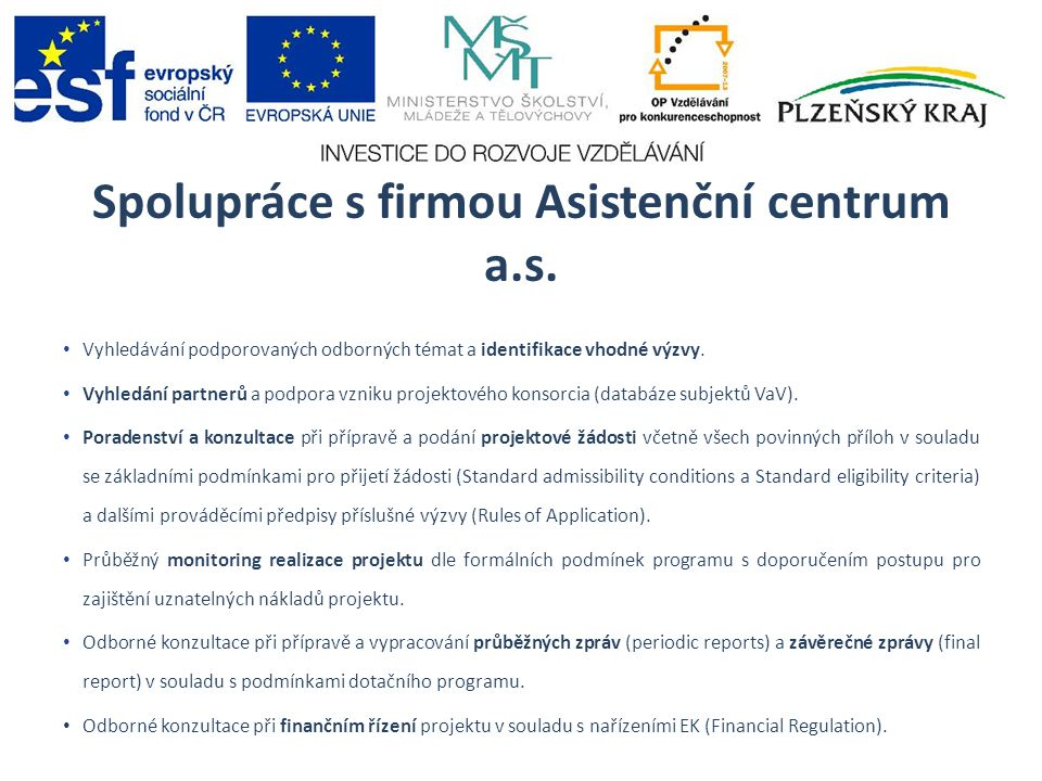 Spolupráce s firmou Asistenční centrum a.s.