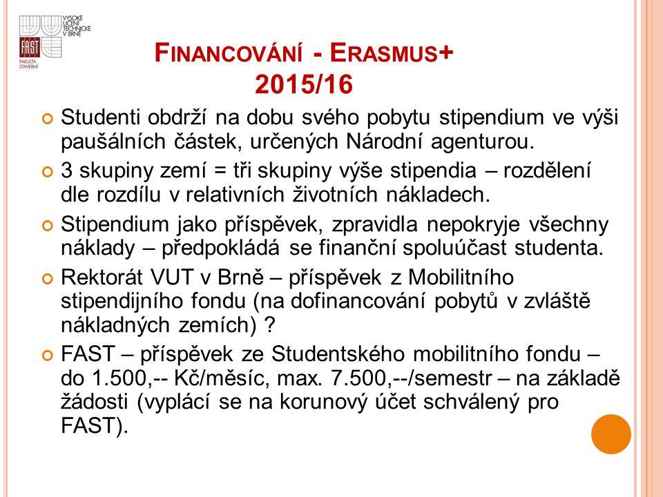 F INANCOVÁNÍ - E RASMUS + 2015/16 Studenti obdrží na dobu svého pobytu stipendium ve výši paušálních částek, určených Národní agenturou. 3 skupiny zem