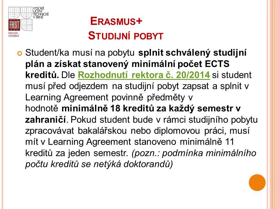 Student/ka musí na pobytu splnit schválený studijní plán a získat stanovený minimální počet ECTS kreditů. Dle Rozhodnutí rektora č. 20/2014 si student