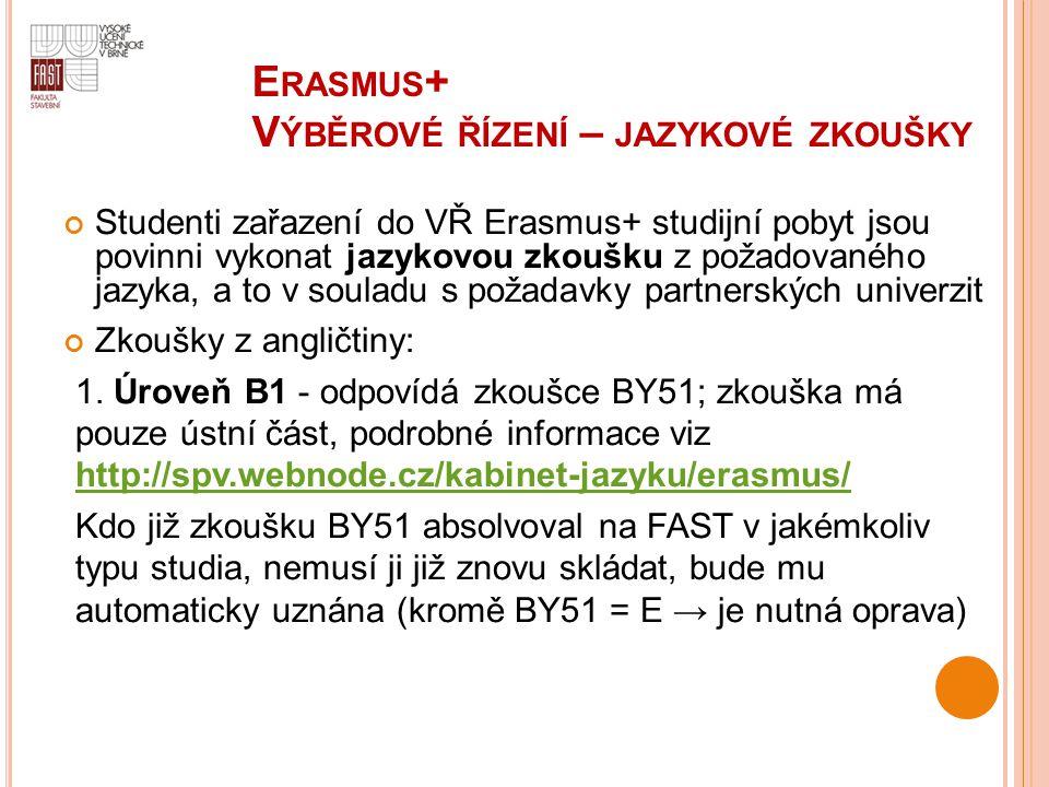 E RASMUS + V ÝBĚROVÉ ŘÍZENÍ – JAZYKOVÉ ZKOUŠKY Studenti zařazení do VŘ Erasmus+ studijní pobyt jsou povinni vykonat jazykovou zkoušku z požadovaného j