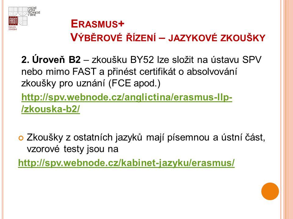 E RASMUS + V ÝBĚROVÉ ŘÍZENÍ – JAZYKOVÉ ZKOUŠKY 2. Úroveň B2 – zkoušku BY52 lze složit na ústavu SPV nebo mimo FAST a přinést certifikát o absolvování