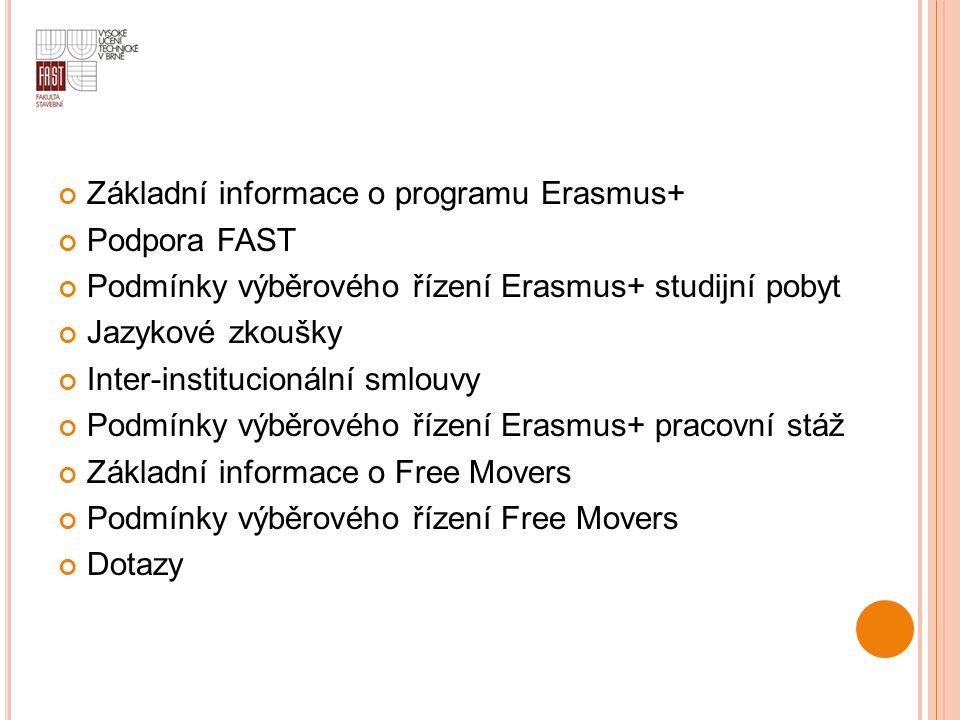 Základní informace o programu Erasmus+ Podpora FAST Podmínky výběrového řízení Erasmus+ studijní pobyt Jazykové zkoušky Inter-institucionální smlouvy