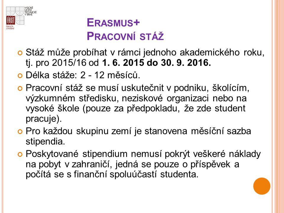 E RASMUS + P RACOVNÍ STÁŽ Stáž může probíhat v rámci jednoho akademického roku, tj. pro 2015/16 od 1. 6. 2015 do 30. 9. 2016. Délka stáže: 2 - 12 měsí