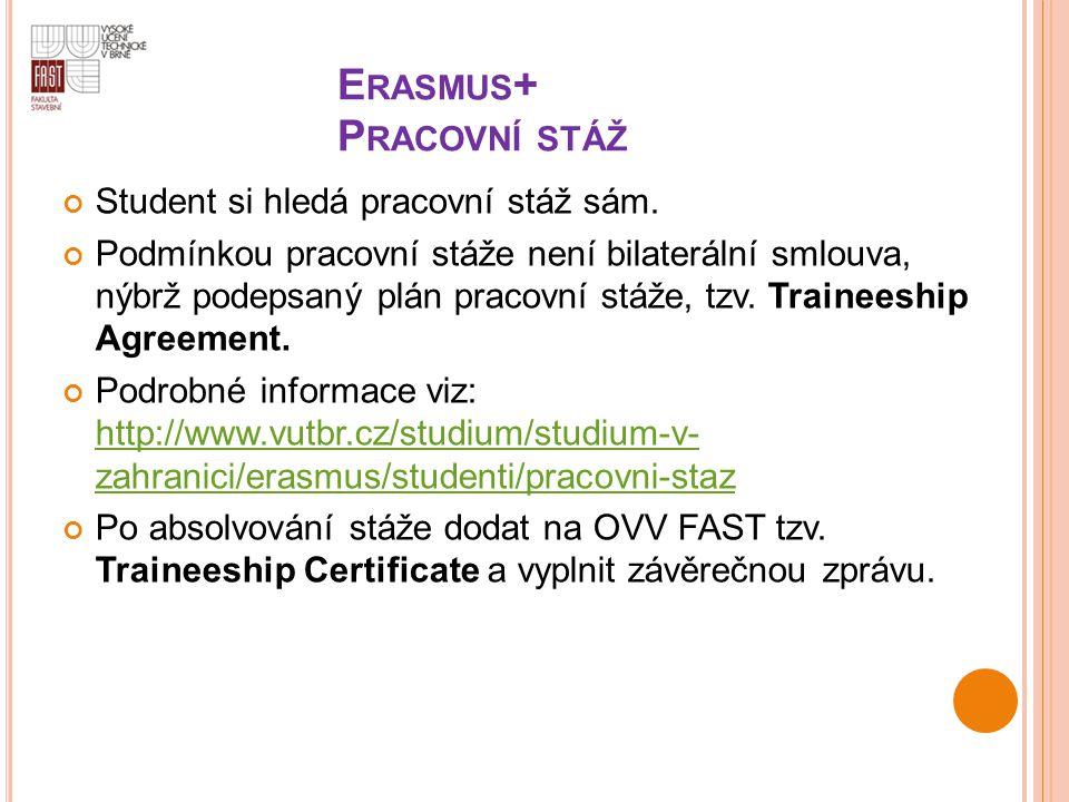 E RASMUS + P RACOVNÍ STÁŽ Student si hledá pracovní stáž sám. Podmínkou pracovní stáže není bilaterální smlouva, nýbrž podepsaný plán pracovní stáže,