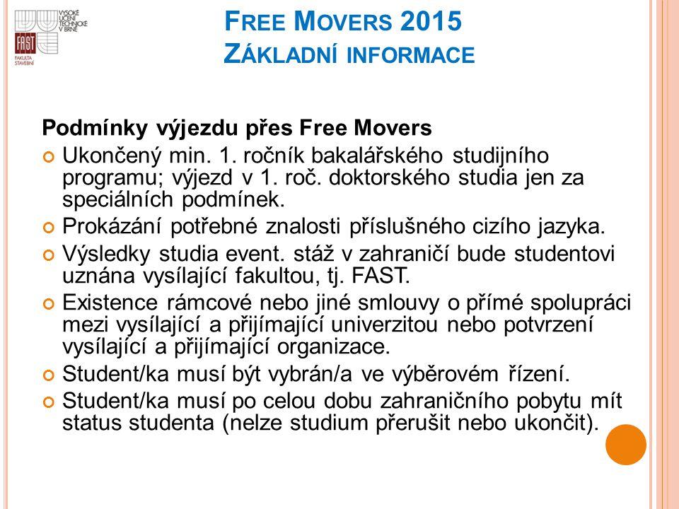 F REE M OVERS 2015 Z ÁKLADNÍ INFORMACE Podmínky výjezdu přes Free Movers Ukončený min. 1. ročník bakalářského studijního programu; výjezd v 1. roč. do