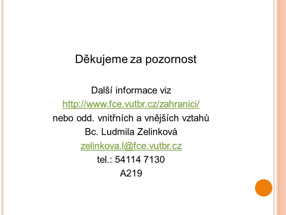 Děkujeme za pozornost Další informace viz http://www.fce.vutbr.cz/zahranici/ nebo odd. vnitřních a vnějších vztahů Bc. Ludmila Zelinková zelinkova.l@f