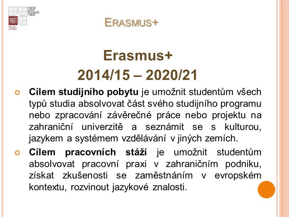 E RASMUS + E RASMUS + Erasmus+ 2014/15 – 2020/21 Cílem studijního pobytu je umožnit studentům všech typů studia absolvovat část svého studijního progr