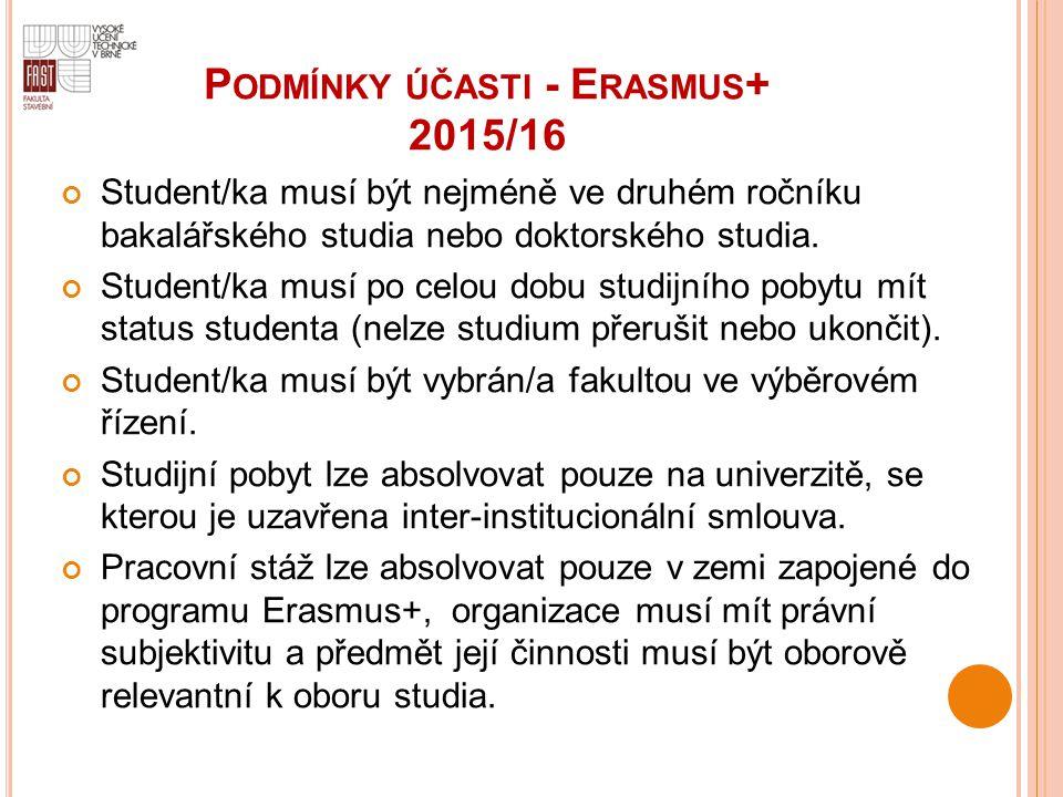 P ODMÍNKY ÚČASTI - E RASMUS + 2015/16 Student/ka musí být nejméně ve druhém ročníku bakalářského studia nebo doktorského studia. Student/ka musí po ce