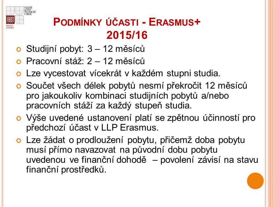 P ODMÍNKY ÚČASTI - E RASMUS + 2015/16 Studijní pobyt: 3 – 12 měsíců Pracovní stáž: 2 – 12 měsíců Lze vycestovat vícekrát v každém stupni studia. Souče