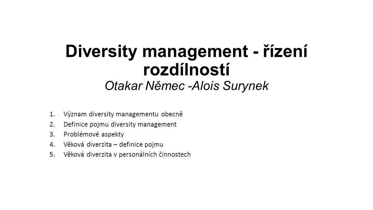 Diversity management - řízení rozdílností Otakar Němec -Alois Surynek 1.Význam diversity managementu obecně 2.Definice pojmu diversity management 3.Pr