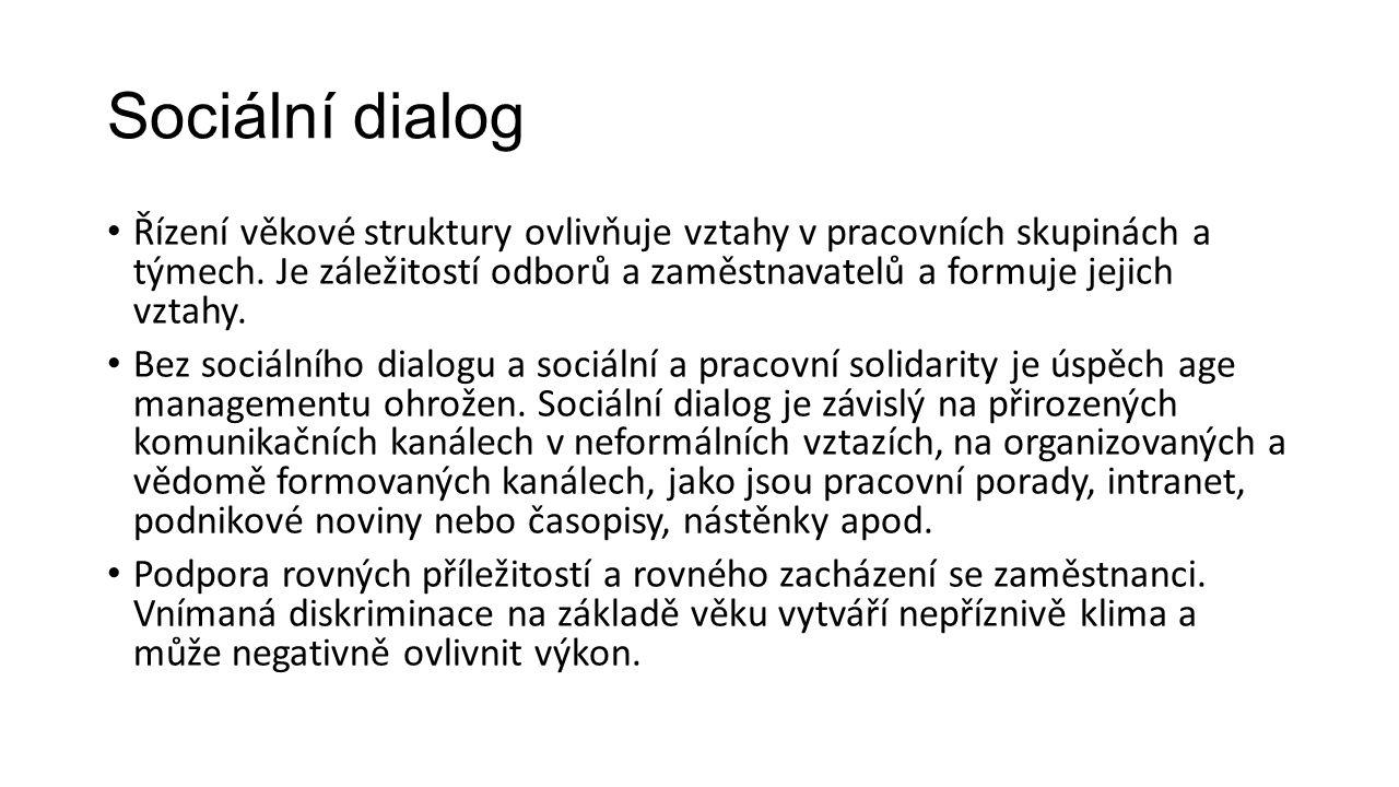 Sociální dialog Řízení věkové struktury ovlivňuje vztahy v pracovních skupinách a týmech. Je záležitostí odborů a zaměstnavatelů a formuje jejich vzta