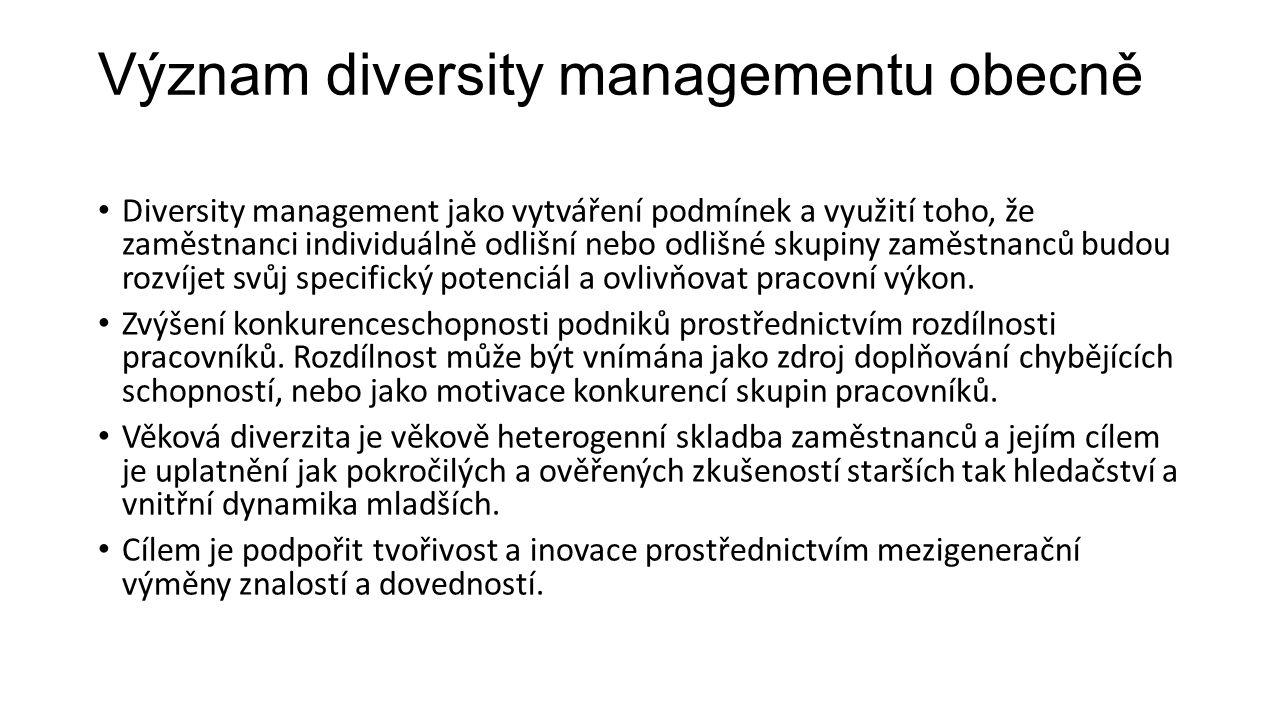 Význam diversity managementu obecně Diversity management jako vytváření podmínek a využití toho, že zaměstnanci individuálně odlišní nebo odlišné skup