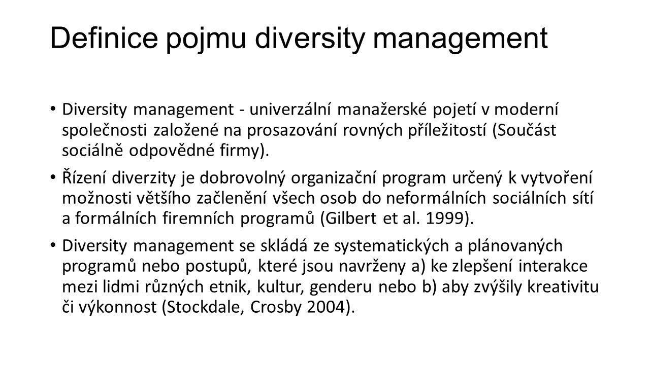 Definice pojmu diversity management Přístup menšinovým skupinám na trh práce a rozšíření pracovních příležitostí většímu okruhu lidí.
