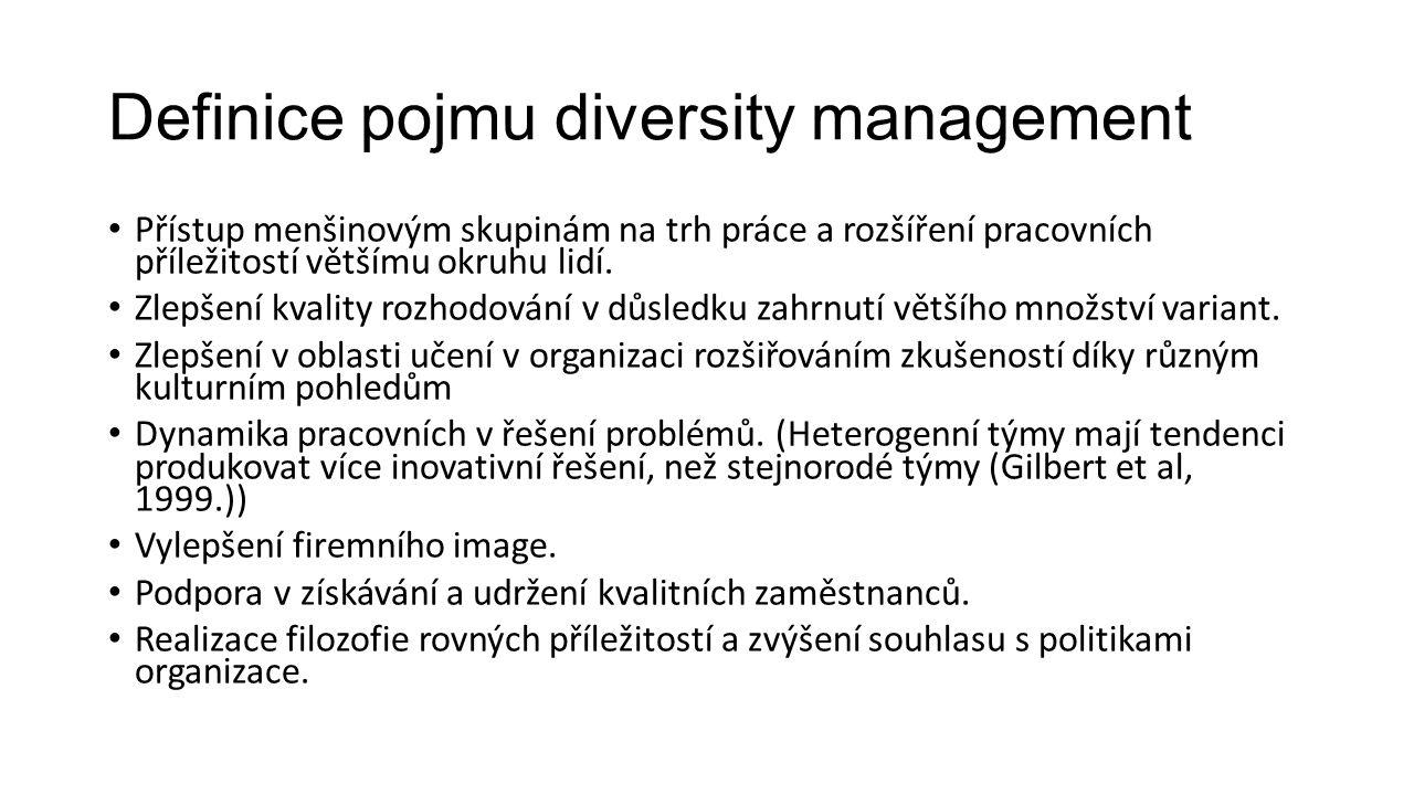 Definice pojmu diversity management Přístup menšinovým skupinám na trh práce a rozšíření pracovních příležitostí většímu okruhu lidí. Zlepšení kvality