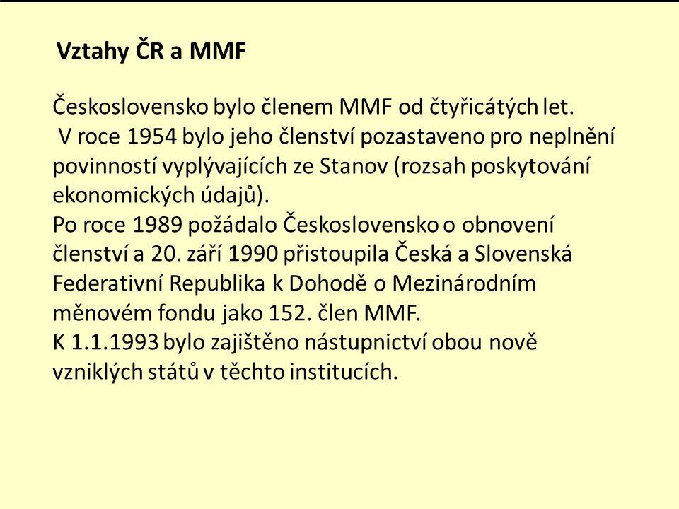 Vztahy ČR a MMF Československo bylo členem MMF od čtyřicátých let. V roce 1954 bylo jeho členství pozastaveno pro neplnění povinností vyplývajících ze