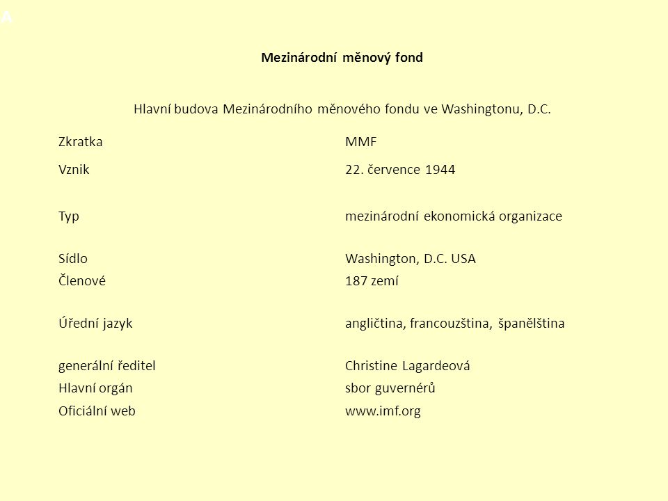Mezinárodní měnový fond Hlavní budova Mezinárodního měnového fondu ve Washingtonu, D.C. ZkratkaMMF Vznik22. července 1944 Typmezinárodní ekonomická or
