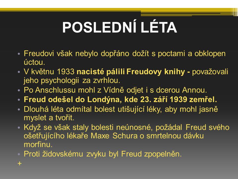 Freudovi však nebylo dopřáno dožít s poctami a obklopen úctou. V květnu 1933 nacisté pálili Freudovy knihy - považovali jeho psychologii za zvrhlou. P