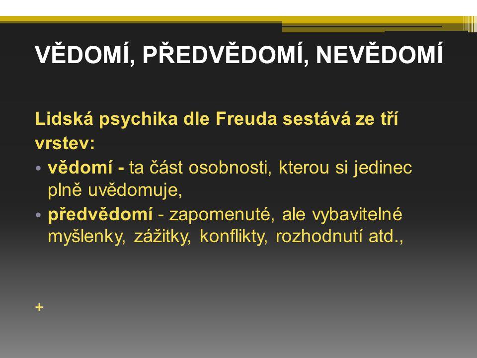 Lidská psychika dle Freuda sestává ze tří vrstev: vědomí - ta část osobnosti, kterou si jedinec plně uvědomuje, předvědomí - zapomenuté, ale vybavitel