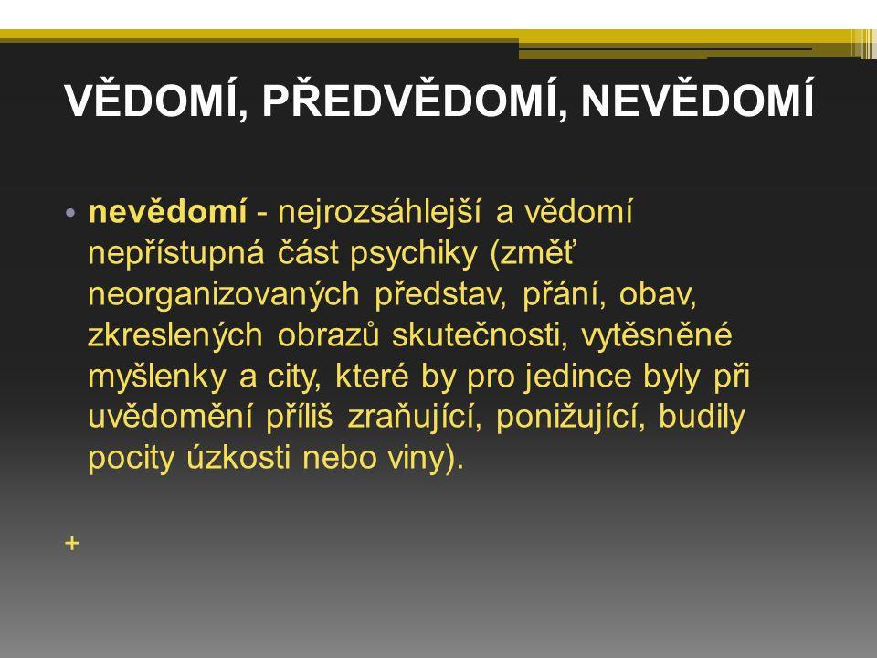 Freud vymezuje tři poměrně nezávislé složky (id, ego a superego), které se řídí rozdílnými, navzájem rozpornými principy a cíli: ID (Ono) ▫ z něho vyvěrá pudová duševní energie (libido), která je hybnou silou člověka, ▫ je zdrojem energie pro ego i superego, ▫ je iracionální, nebere ohled na realitu, ▫ jeho cílem je okamžité uspokojení svých přání, ▫ řídí se principem slasti, ▫ je zcela nevědomé.