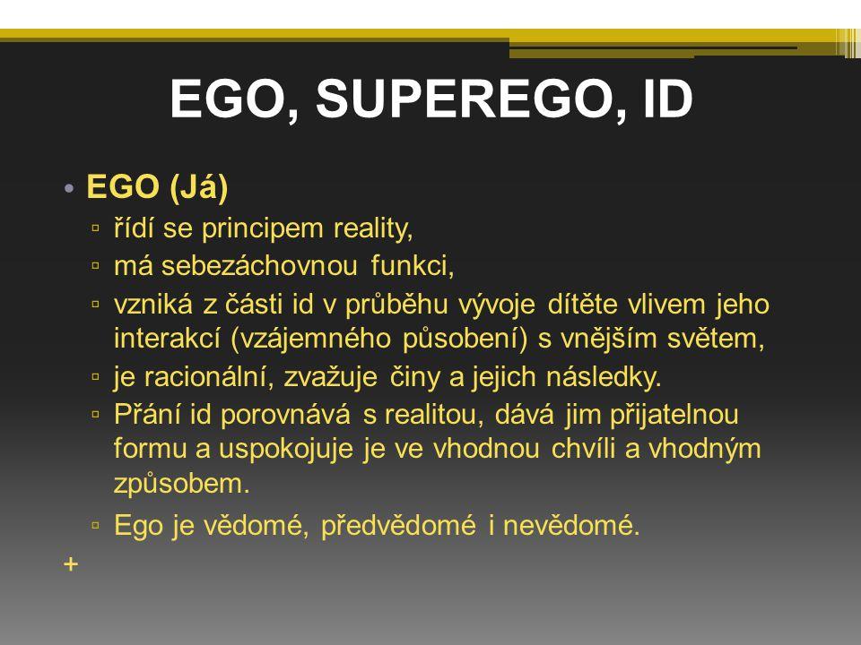 EGO (Já) ▫ řídí se principem reality, ▫ má sebezáchovnou funkci, ▫ vzniká z části id v průběhu vývoje dítěte vlivem jeho interakcí (vzájemného působen