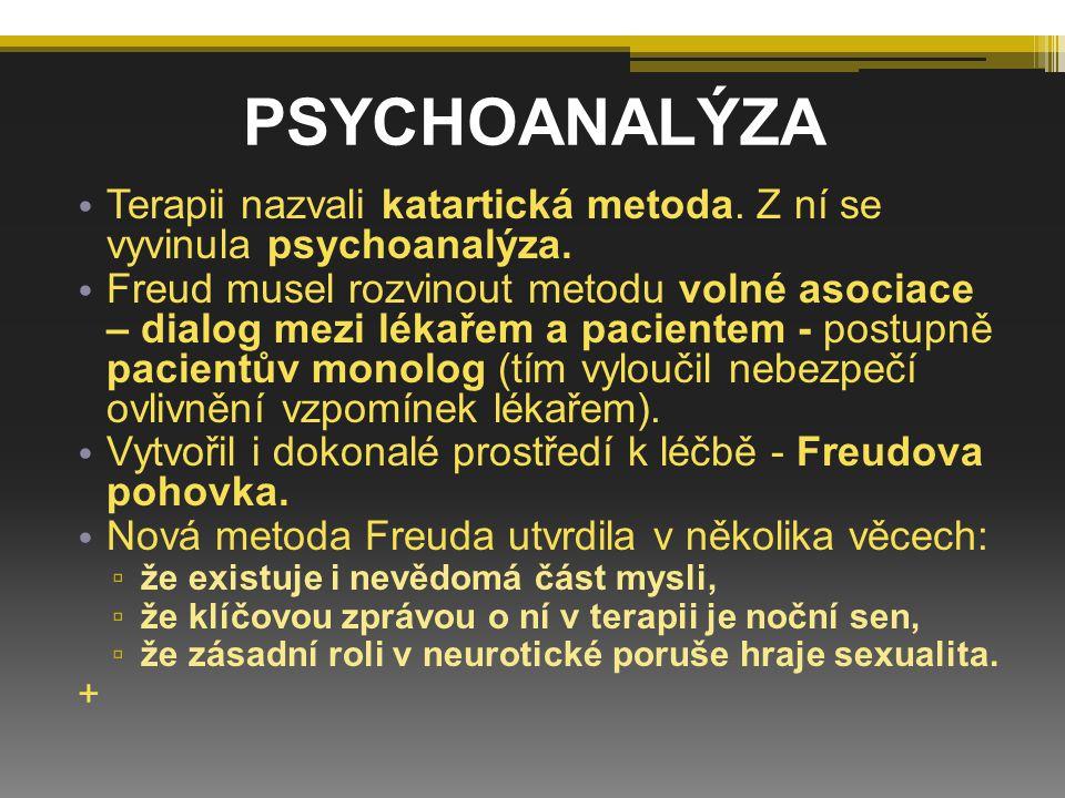 Terapii nazvali katartická metoda. Z ní se vyvinula psychoanalýza. Freud musel rozvinout metodu volné asociace – dialog mezi lékařem a pacientem - pos