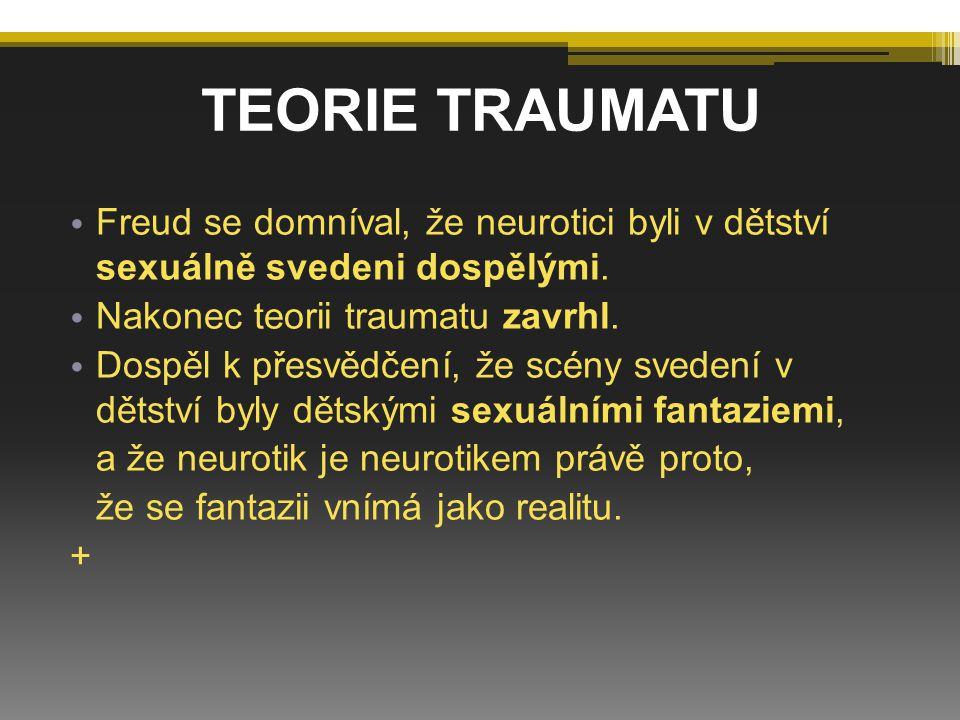F reud se domníval, že neurotici byli v dětství sexuálně svedeni dospělými. N akonec teorii traumatu zavrhl. D ospěl k přesvědčení, že scény svedení v