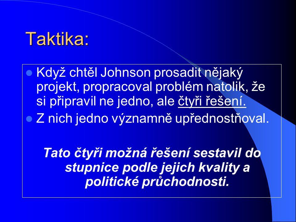 Taktika: Když chtěl Johnson prosadit nějaký projekt, propracoval problém natolik, že si připravil ne jedno, ale čtyři řešení. Z nich jedno významně up