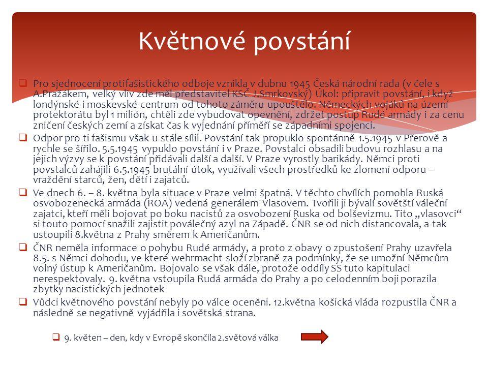  Pro sjednocení protifašistického odboje vznikla v dubnu 1945 Česká národní rada (v čele s A.Pražákem, velký vliv zde měl představitel KSČ J.Smrkovsk