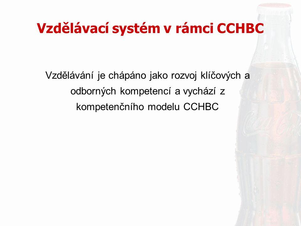 Vzdělávací systém v rámci CCHBC Vzdělávání je chápáno jako rozvoj klíčových a odborných kompetencí a vychází z kompetenčního modelu CCHBC
