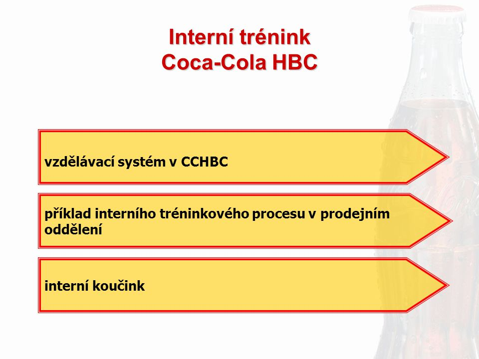 Interní trénink Coca-Cola HBC interní koučink vzdělávací systém v CCHBC příklad interního tréninkového procesu v prodejním oddělení