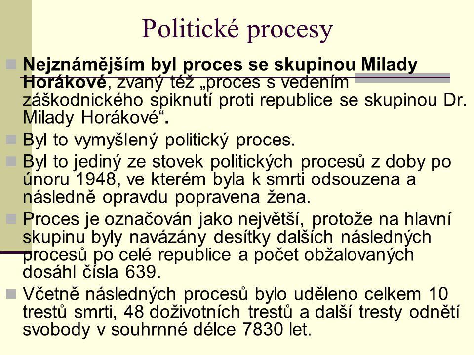 """Politické procesy Nejznámějším byl proces se skupinou Milady Horákové, zvaný též """"proces s vedením záškodnického spiknutí proti republice se skupinou"""