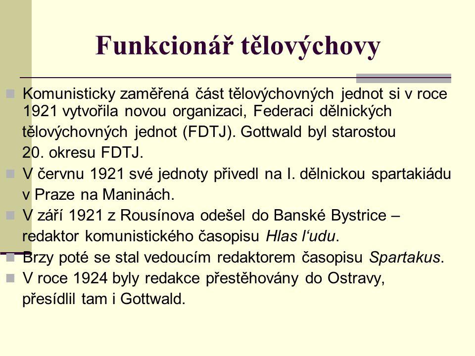 Funkcionář tělovýchovy Komunisticky zaměřená část tělovýchovných jednot si v roce 1921 vytvořila novou organizaci, Federaci dělnických tělovýchovných