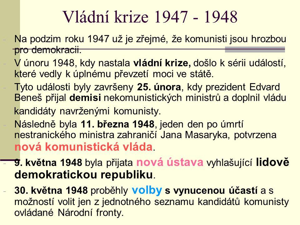Vládní krize 1947 - 1948 - Na podzim roku 1947 už je zřejmé, že komunisti jsou hrozbou pro demokracii. - V únoru 1948, kdy nastala vládní krize, došlo