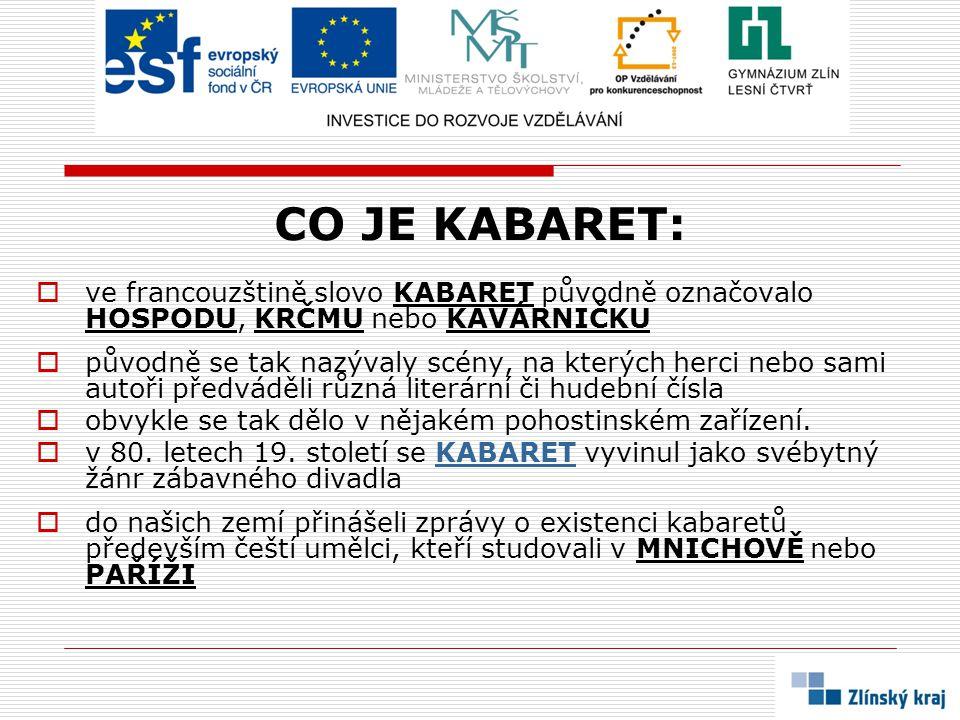 CO JE KABARET:  ve francouzštině slovo KABARET původně označovalo HOSPODU, KRČMU nebo KAVÁRNIČKU  původně se tak nazývaly scény, na kterých herci ne