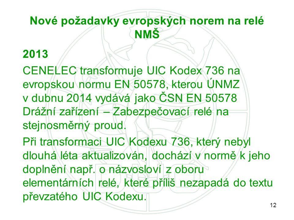 12 Nové požadavky evropských norem na relé NMŠ 2013 CENELEC transformuje UIC Kodex 736 na evropskou normu EN 50578, kterou ÚNMZ v dubnu 2014 vydává ja
