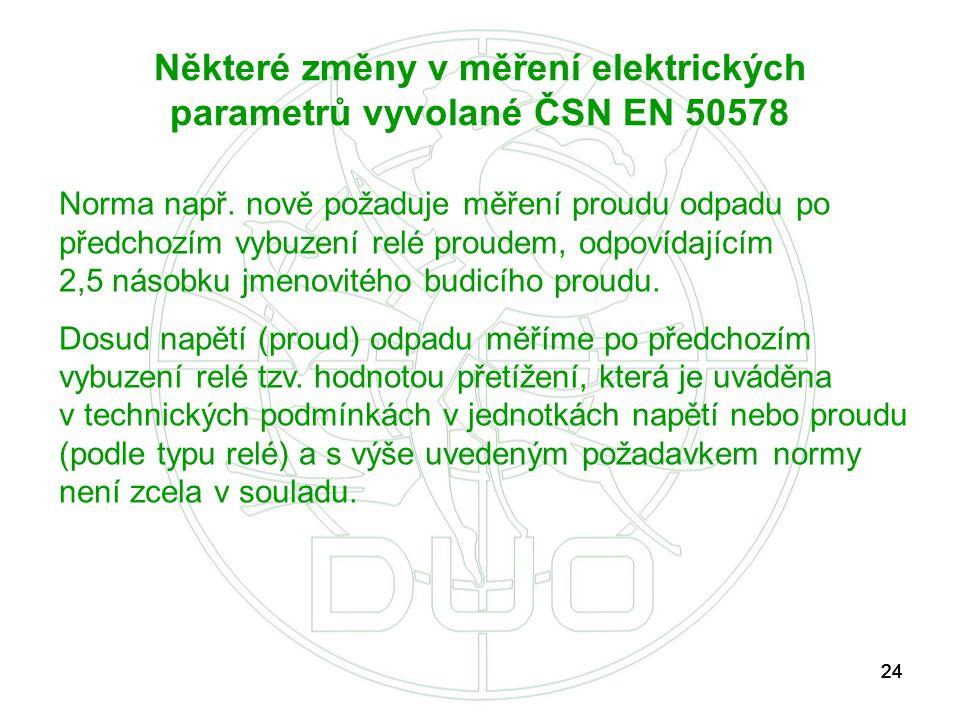 24 Některé změny v měření elektrických parametrů vyvolané ČSN EN 50578 Norma např. nově požaduje měření proudu odpadu po předchozím vybuzení relé prou