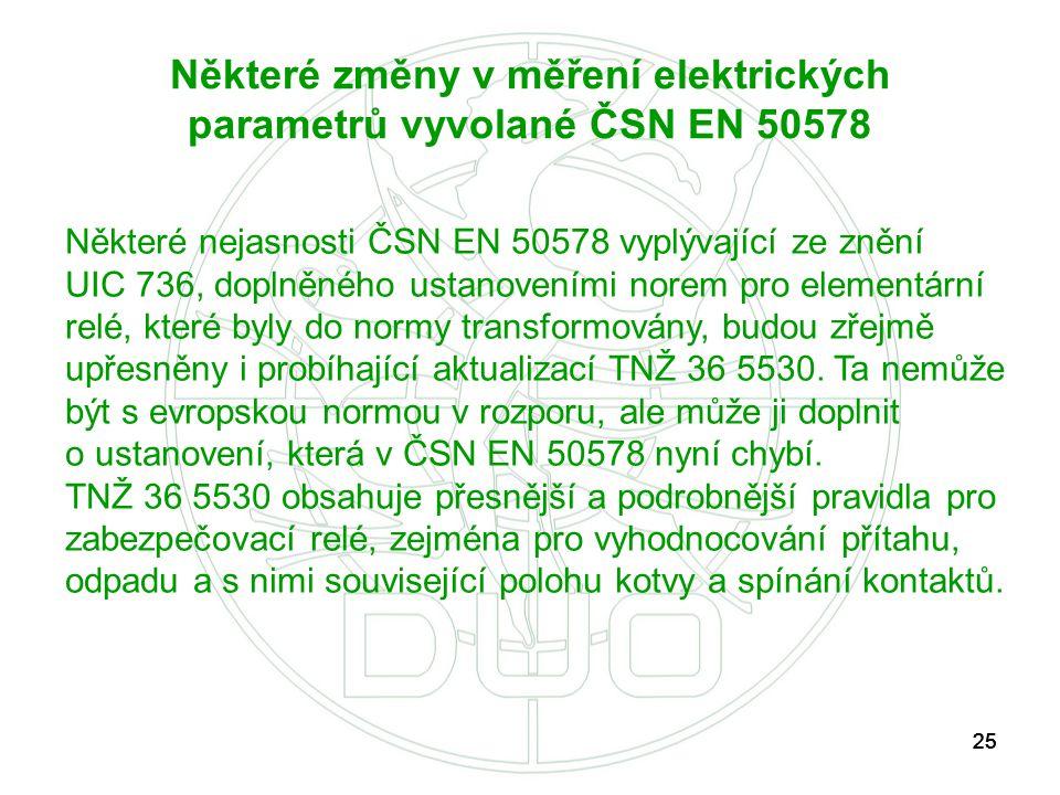25 Některé změny v měření elektrických parametrů vyvolané ČSN EN 50578 Některé nejasnosti ČSN EN 50578 vyplývající ze znění UIC 736, doplněného ustano