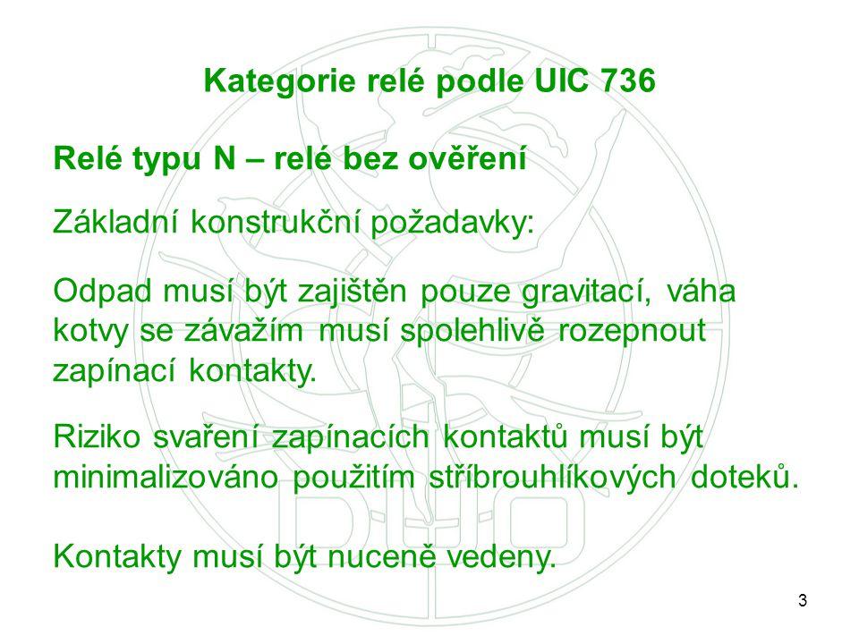 3 Kategorie relé podle UIC 736 Relé typu N – relé bez ověření Základní konstrukční požadavky: Odpad musí být zajištěn pouze gravitací, váha kotvy se z