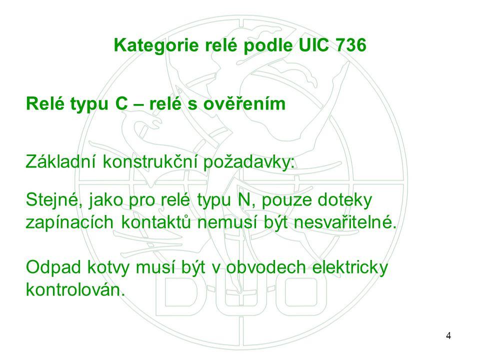 4 Kategorie relé podle UIC 736 Relé typu C – relé s ověřením Základní konstrukční požadavky: Stejné, jako pro relé typu N, pouze doteky zapínacích kon