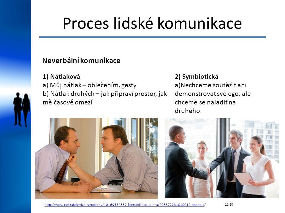 Proces lidské komunikace Neverbální komunikace 1) Nátlaková a) Můj nátlak – oblečením, gesty b) Nátlak druhých – jak připraví prostor, jak mě časově o
