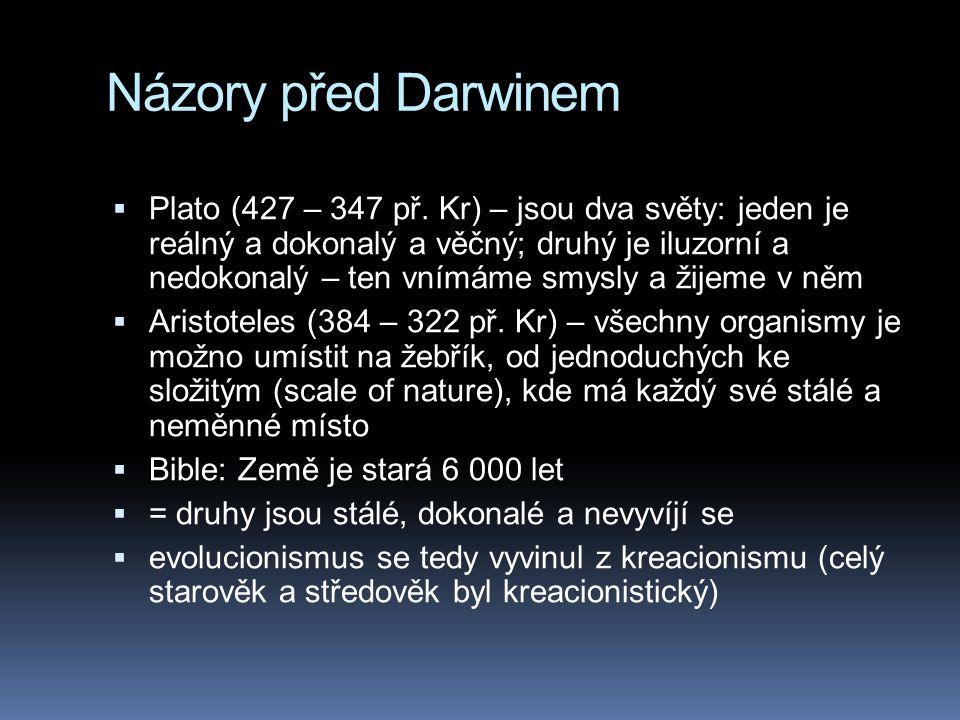 Názory před Darwinem  Plato (427 – 347 př. Kr) – jsou dva světy: jeden je reálný a dokonalý a věčný; druhý je iluzorní a nedokonalý – ten vnímáme smy