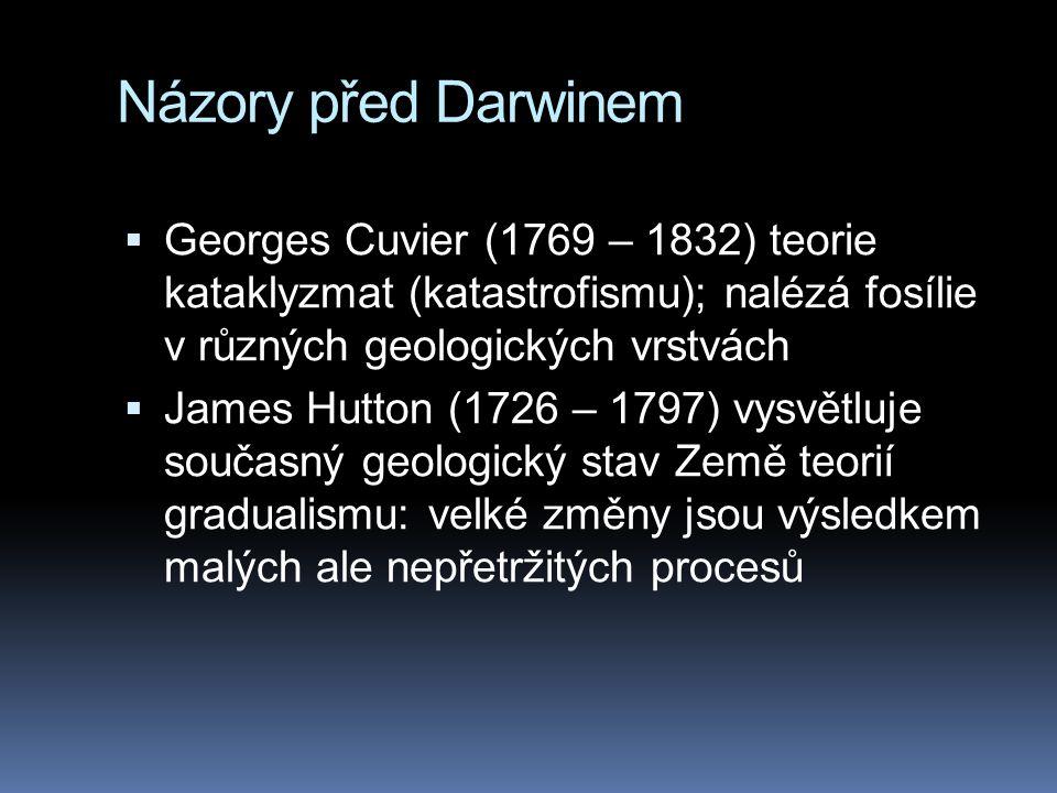 Názory před Darwinem  Georges Cuvier (1769 – 1832) teorie kataklyzmat (katastrofismu); nalézá fosílie v různých geologických vrstvách  James Hutton