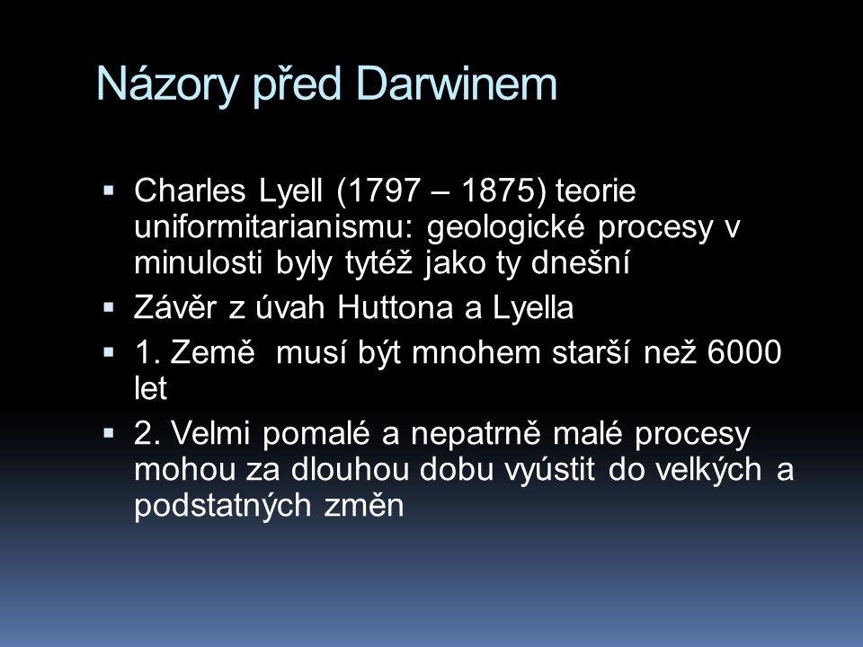 Názory před Darwinem  Charles Lyell (1797 – 1875) teorie uniformitarianismu: geologické procesy v minulosti byly tytéž jako ty dnešní  Závěr z úvah