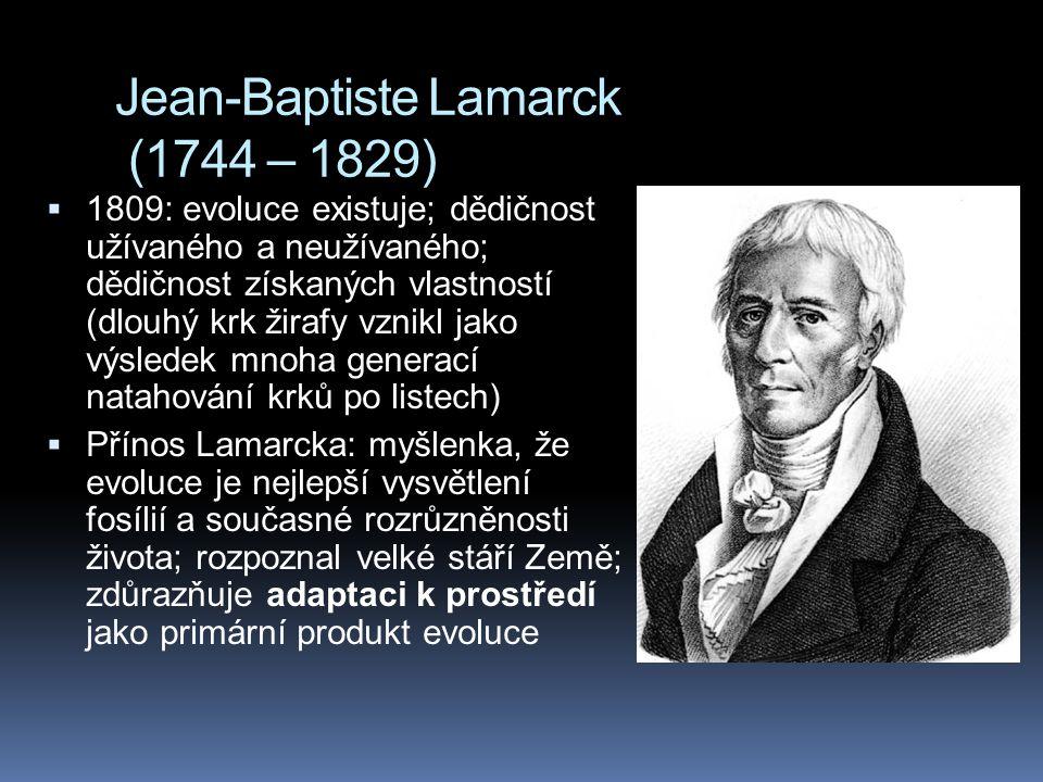 Jean-Baptiste Lamarck (1744 – 1829)  1809: evoluce existuje; dědičnost užívaného a neužívaného; dědičnost získaných vlastností (dlouhý krk žirafy vzn