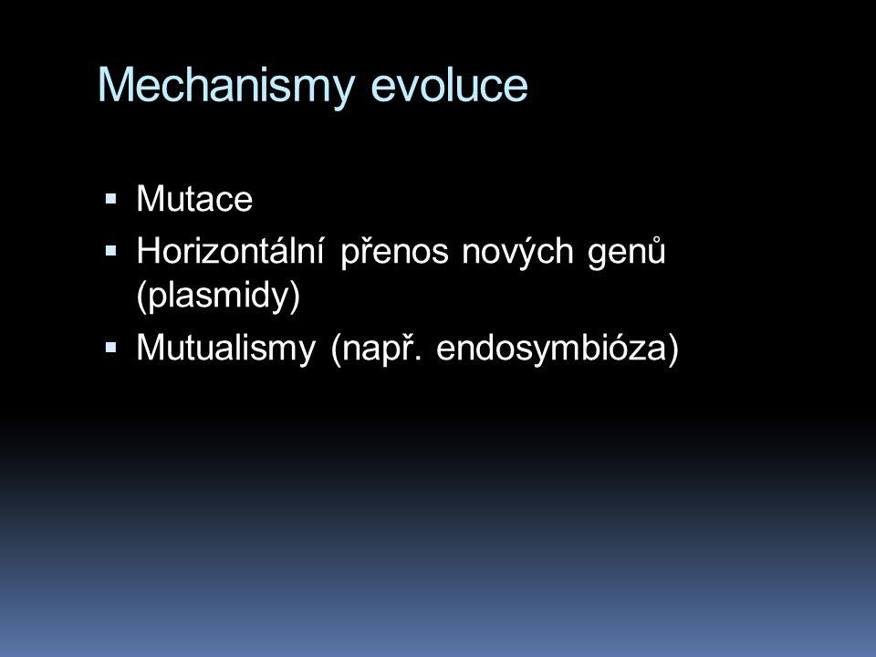 Mechanismy evoluce  Mutace  Horizontální přenos nových genů (plasmidy)  Mutualismy (např. endosymbióza)
