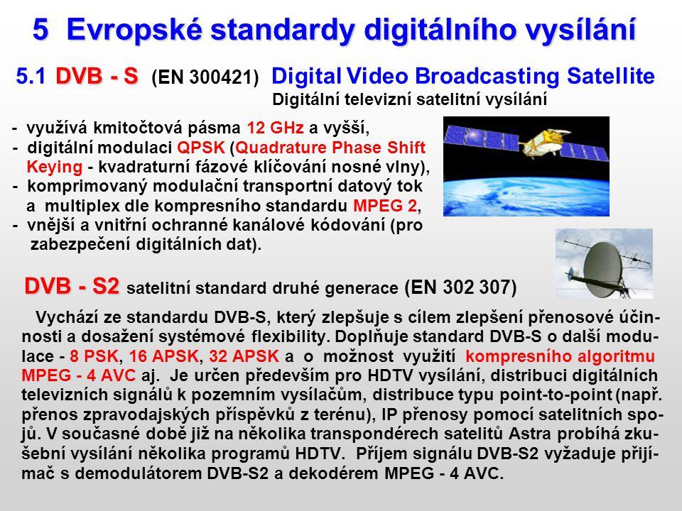 5 Evropské standardy digitálního vysílání 5 Evropské standardy digitálního vysílání DVB - S 5.1 DVB - S (EN 300421) Digital Video Broadcasting Satelli