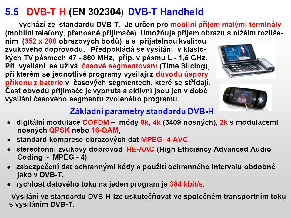 DVB-T H 5.5 DVB-T H (EN 302304 ) DVB-T Handheld vychází ze standardu DVB-T. Je určen pro mobilní příjem malými terminály (mobilní telefony, přenosné p