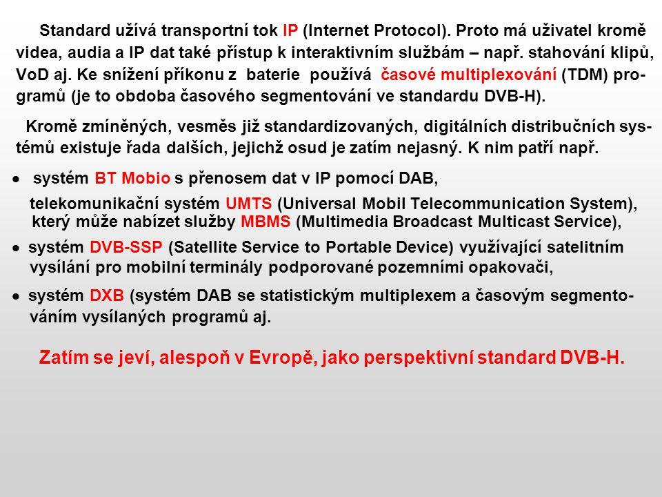 Standard užívá transportní tok IP (Internet Protocol). Proto má uživatel kromě videa, audia a IP dat také přístup k interaktivním službám – např. stah